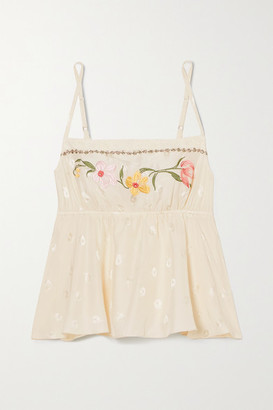 Morgan Lane Darcie Embroidered Silk-blend Jacquard Camisole - Cream