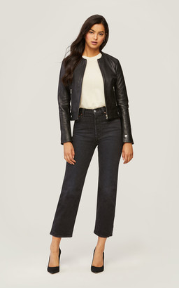 Soia & Kyo SLOANE slim-fit leather jacket with stand collar