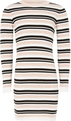 River Island Girls Pink stripe fitted knit jumper dress