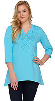 As Is Quacker Factory Studded Sparkle Trapeze Hem 3/4 Sleeve Tunic