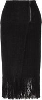 Maiyet Fringed wool-blend tweed wrap skirt