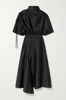 Ellery Santorini Draped Satin Midi Dress - Black