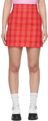 MSGM Red and Pink Canvas Tartan Print Miniskirt