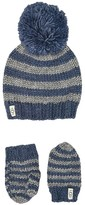 UGG Chunky Stripe Knit Hat and Mitten Set (Toddler/Little Kids) (Ensign Blue) Caps