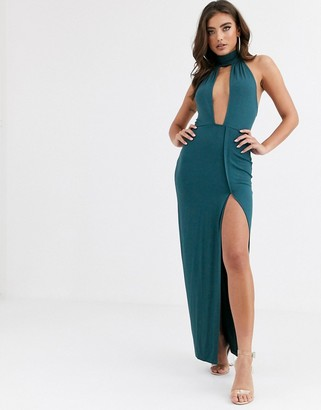 ASOS DESIGN going out deep plunge maxi dress in green