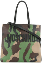 Moschino camouflage logo tote - women - Leather - One Size