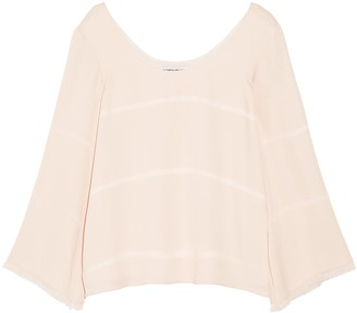Elizabeth and James Fringe-trimmed Silk-crepe Top