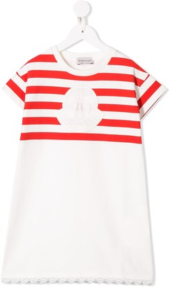 Moncler Enfant striped logo patch T-shirt dress
