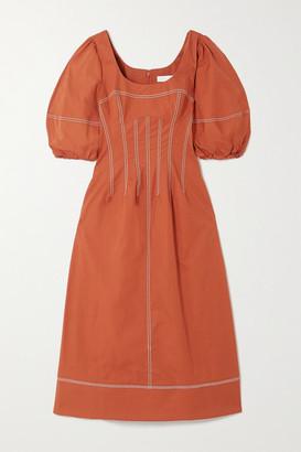 Jonathan Simkhai Lena Topstitched Cotton-blend Midi Dress - Brick