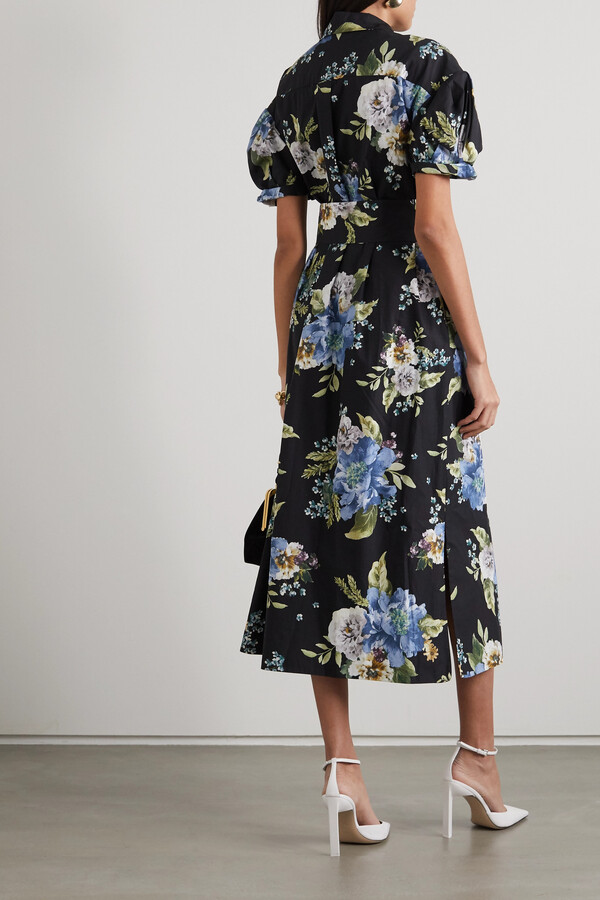Thumbnail for your product : Erdem Frederick Belted Floral-print Cotton-poplin Midi Shirt Dress - Black