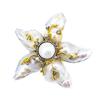 Arthur Marder Fine Jewelry Silver 1.30 Ct. Tw. Diamond & 11-25Mm Pearl Brooch