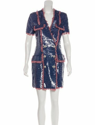 Balmain Sequin Mini Dress w/ Tags red