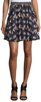 Diane von Furstenberg Army of Hearts Tweed-Trim Silk Miniskirt, Wild Rose/Tan