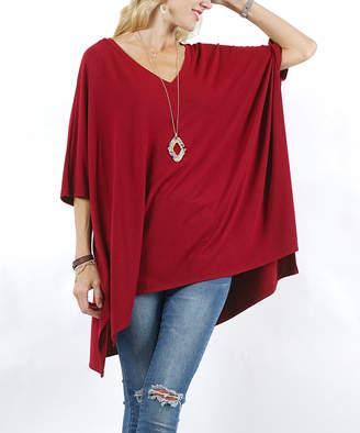Lydiane Women's Ponchos CABERNET - Cabernet V-Neck Dolman-Sleeve Oversize Swing Sweater - Women