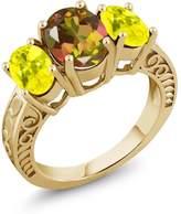 Gem Stone King 3.40 Ct Mango Mystic Topaz Canary Mystic Topaz 18K Yellow Gold Plated Silver Ring