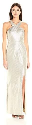 Laundry by Shelli Segal Women's Cross Front Metallic Foil Gown