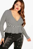 boohoo Plus Amber Stripe Wrap Front Frill Top