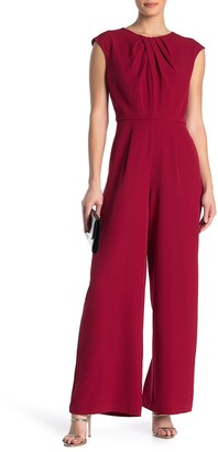 Donna Ricco Pleated Neck Jumpsuit