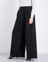 Brunello Cucinelli Wide-leg embellished cotton-blend trousers