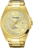 Pulsar Business Collection Mens Gold-Tone Stainless Steel Champagne Dial Watch