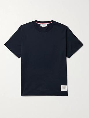 Thom Browne Appliqued Grosgrain-Trimmed Cotton-Jersey T-Shirt