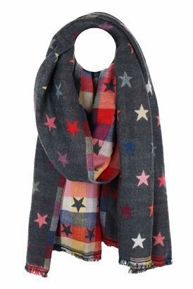 The Olive House Scarves The Olive House Womens Stars Design Reversible Scarf Grey Multicoloured