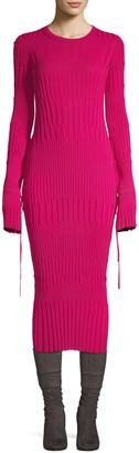 Carolina Herrera Long-Sleeve Midi Dress