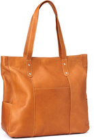 Le Donne Tan Large Pocket Leather Tote