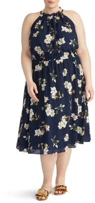 Rachel Roy Cinch Floral Midi Dress (Plus Size)