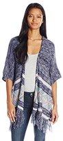 Jolt Junior's Marled Stripe Fringe Cardigan Sweater