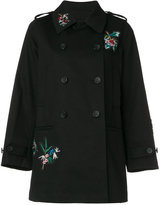 RED Valentino floral embroidery double-breasted coat - women - Silk/Cotton - 38