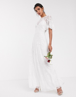 Asos Edition EDITION embroidered & beaded flutter sleeve wedding dress-White