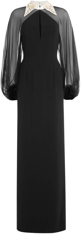 Jenny Packham Sheer Sleeve Evening Gown