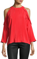 Ramy Brook Vivica Silk Crepe Cold-Shoulder Top, Spring Red