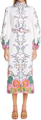 Zimmermann Lovestruck Floral Button-Up Long Sleeve Linen Midi Dress