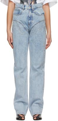 Y/Project Blue Crystal Rhinestone Jeans