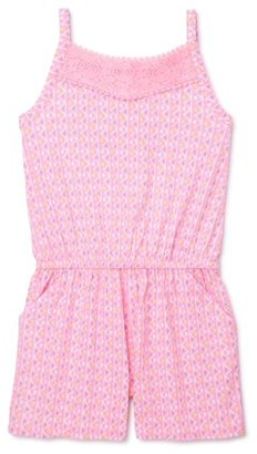 Wonder Nation Girls Printed and Lace Detail Romper, Sizes 4-18