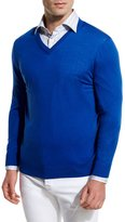 Kiton Fine-Gauge V-Neck Sweater, Royal Blue