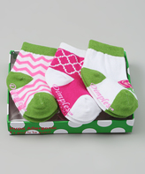Dimples Pink & Green Zigzag Three-Pair Socks Set