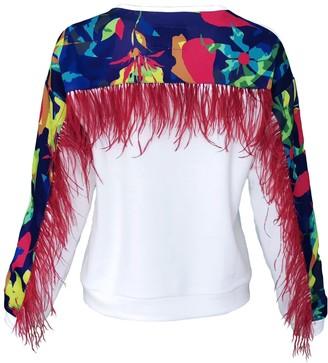 Lalipop Design White Cotton Sweatshirt With Digital Print On The Back Yoke