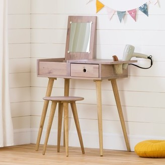 South Shore Sweedi Solid Wood Vanity Table with Stool Set, Pink Wood