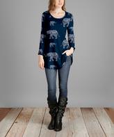 Lily Blue & White Elephant Curve-Hem Tunic - Plus Too