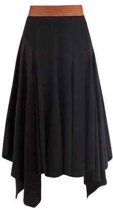 Loewe Asymmetric Leather-waist Crepe Skirt - Black