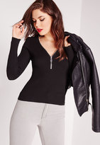 Missguided Long Sleeve Zip Sweater Black