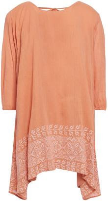 SUNDRESS Indiana Fringed Embroidered Crinkled Cotton-gauze Mini Dress