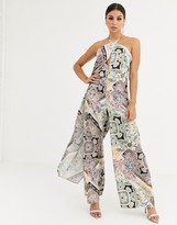 Asos Design DESIGN cross front jumpsuit with drape in scarf print