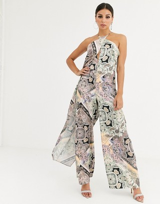 Asos Design DESIGN cross front jumpsuit with drape in scarf print-Multi