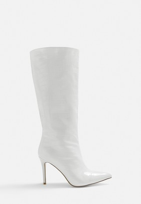 Missguided White Croc Effect Knee High Boots