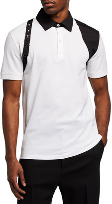 Alexander McQueen Men's Buckle Harness Polo Shirt