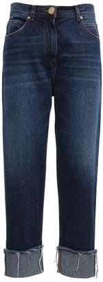 Balmain High Waist Cotton Denim Boyfriend Pants